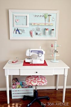 My Craft Room Tour - The AVENUE - Adorable small sewing space and lots of pretty storage ideas! The AVENUE Small Sewing Space, Sewing Spaces, Small Spaces, Sewing Room Organization, Craft Room Storage, Storage Ideas, Organization Ideas, Organizing, Pegboard Storage