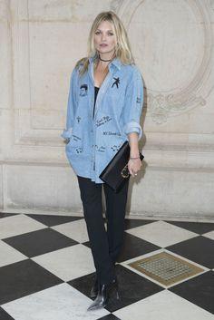 Kate Moss in Dior Denim Top, Denim Shirt, Naomi Campbell, Glam Rock, Kate Moss 2017, Kate Moss Stil, Estilo Kate Moss, Estilo Glam, Christian Dior