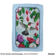 Flower Garden and Hummingbirds Blue Towels