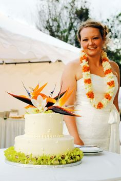 a wedding cake and a blushing bride by pastryaffair, via Flickr