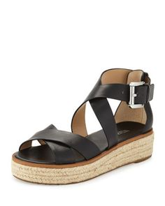 Darby Leather Crisscross Sandal, Black by MICHAEL Michael Kors at Neiman Marcus.