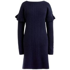 Women's J.crew Holden Ruffle Sleeve Cable Knit Sweater Dress (€81) ❤ liked on Polyvore featuring dresses, navy, petite, flounce sleeve dress, flutter sleeve dress, navy blue dress, navy sweater dress and wool dress
