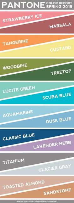 New color trends for 2015. Love the rust palate not so crazy about the lighter colors.