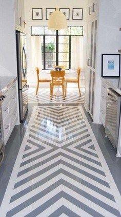 Painted kitchen floor - chevron design, galley kitchen, gray and white kitchen