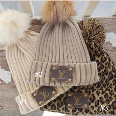 Off white Upcycled repurposed Louis Vuitton pom pom Beanie. This listing is for the beanie on the left side of the picture with the white pom pom. Ropa Louis Vuitton, Louis Vuitton Handbags, Lv Handbags, Louis Vuitton Hat, Unique Outfits, Cute Outfits, Boutique Clothing, Upcycle, Winter Hats