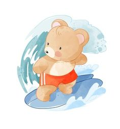 Horse Illustration, Bear Cartoon, Cubs, Smurfs, Balloons, Teddy Bear, Baby Shower, Children, Panda