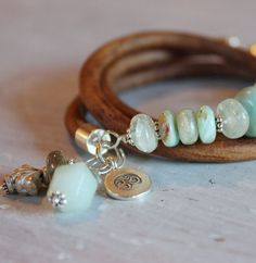 Serenity wrap bracelet - opal, amazonite leather and silver triple wrap bracelet