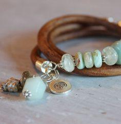 Serenity wrap bracelet - opal, amazonite leather and silver triple wrap bracelet