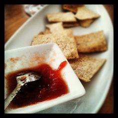 Compota de tomate coração de boi e bolachas semi-integrais. Oferta do #manobrasnoporto #óchef. OBRIGADO! Foi um prazer! - @miguelcizeron- #webstagram Dairy, Cheese, Thanks, Ox, Wafer Cookies