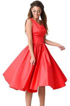 70a28f9569ef Red Scallop Neck Cinched Waist Ladylike Vintage Dress MB61070-3 –  ModeShe.com Cute