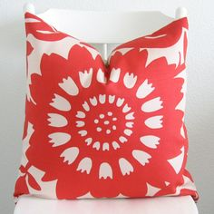Decorative pillow cover - Throw pillow - 20x20 - Red - Beige - Floral - Thomas Paul - Duralee - Designer fabric. $55.00, via Etsy.