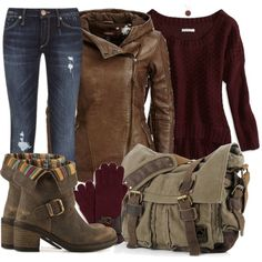 """""""Burgundy & Leather"""" by kristiw on Polyvore"""