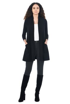 , black cardigans, Cotton/spandex cardigans, jersey knit cardigans, Machine wash cardigans, mid-thigh length cardigans, midweight cardigans, stretch cardigans, three-quarter length sleeve cardigans