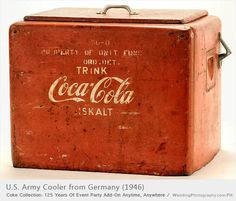 *COCA-COLA ~ red metal ice cooler with attached bottle opener on the side and removable lid from 1946, this cooler was used by the US Army in Germany during World War II.
