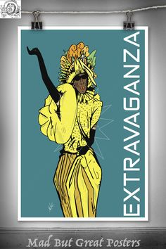 Extravaganza - Paris Is Burning Inspired, original poster, fashion print, vintage, retro, wall art, decor, gift, travel, fine, illustration by MadButGreatPosters on Etsy