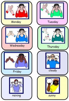 Sign Language Weather Chart – Signs for 5 schooldays and 9 types of weather. by … Sign Language Weather Chart – Signs for 5 schooldays and 9 types of weather. by tanisha Simple Sign Language, Sign Language Chart, Sign Language For Kids, Sign Language Phrases, Sign Language Alphabet, Sign Language Interpreter, British Sign Language, Learn Sign Language, Speech And Language
