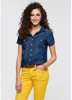 58c04032d7 Camisa jeans Camisas De Manga Curta