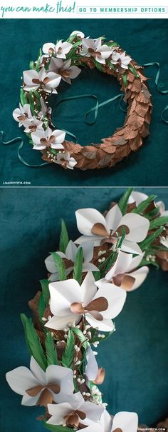 Paper Orchid Flower Wreath - Lia Griffith - www.liagriffith.com #diyhomedecor #crepepaperrevival #paperflower #paperflowers #diywreath #diywreaths #diyinspiration #diyproject #diyprojects #madewithlia