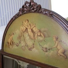 """Antique TRUMEAU Mirror ARCH Top w Carved BOW * Oil Painting CHERUBS & SWAGS 46"""""""