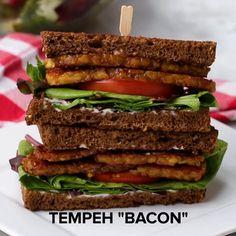Vegan Tempeh Bacon Recipe by Tasty Bacon Recipes, Vegetarian Recipes, Healthy Recipes, Tofu Recipes, Healthy Eats, Vegan Meals, Sandwich Recipes, Keto Recipes, Whole Food Recipes