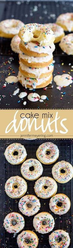 Cake Mix Donuts – Baked donuts made the quick and easy way with a pre-made boxed… Cake Mix Doughnuts – Gebackene Doughnuts wurden schnell und. Cake Mix Donuts Recipe, Chocolate Cake Mix Recipes, Cake Mix Cookies, Chocolate Boxes, Chocolate Donuts, Chocolate Glaze, Chocolate Coffee, Chocolate Covered, Cake Pops