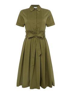 Short Sleeved Belted Shirt Dress
