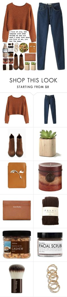 """""""Noora"""" by owlmarbles ❤ liked on Polyvore featuring Shoe Cult, Palila, Nicolas Vahé, Pier 1 Imports, Acne Studios, Falke, Hourglass Cosmetics and GUESS"""