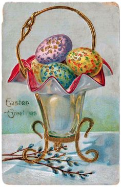 Happy Easter! Here is a collection of 15 colorful Easter postcards from the early twentieth century! These were especially popular from around 1900 to around 1915, and, as this gallery demonstrates, such greeting cards were often considered keepsakes, and put into scrapbooks or simply saved. >> The postal card fad (1901) Colorful Easter eggs in a …