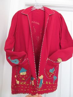 Mexican Women's Folk Art Jacket Coat Hand Embroidered Red No Size Distressed in Clothing, Shoes & Accessories, Vintage, Women's Vintage Clothing, 1939-46 (WWII), Coats & Jackets | eBay