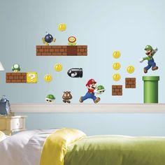45 Piece Nintendo Super Mario Peel & Stick Wall Decal Set