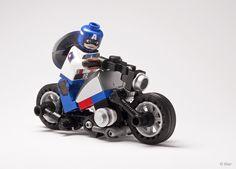 Custom Captain America on Bike /by CAB & Tiler #flickr #LEGO #DC