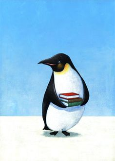 Oh, my two favourite things, a penguin AND books! Tee hee!