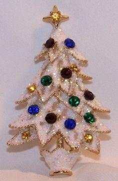 Eisenberg Ice Rhinestone Christmas Tree Pin Snowy Glittery Enamel NOS   eBay