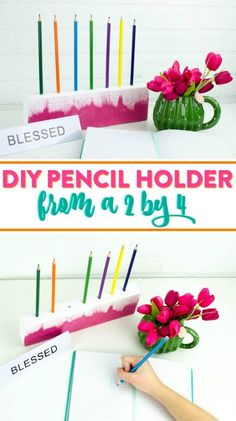 Today I want to show you a great project that will help keep your pens or pencils organized, it's a DIY 2×4 Pencil Holder. This won't solve all of your messy desk issues, but it's a great start! You can make it from some scrap wood you have laying around, and you can paint it whatever colors you'd' like to match your space. #backtoschool #deskorganization #woodproject #diy #craftproject Diy Projects For Teens, Diy For Teens, Crafts For Teens, Diy For Kids, Craft Projects, Craft Ideas, Desk Organization Diy, Diy Desk, Diy Dream Catcher Tutorial