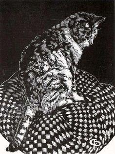 Claughton Pellew The cat. (wood engraving) Claughton Pellew The cat. (wood engraving) This image has. Linocut Prints, Art Prints, Block Prints, Ecole Art, Scratchboard, Wood Engraving, Woodblock Print, Cat Art, Printmaking