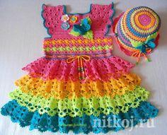 Радужное платьице крючком от Татьяны Солохиной