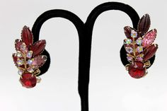 Spectacular Red and Pink Rhinestone Earrings with by AgeofPlastic
