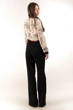 Черные широкие брюки клеш с завышенной талией
