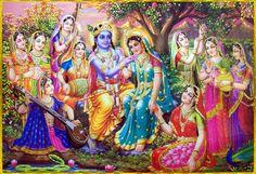 Srimati Radharani touches Krishna's shoulder while holding a gopi's hand Radha Krishna Wallpaper, Radha Krishna Pictures, Lord Krishna Images, Radha Krishna Photo, Krishna Photos, Arte Krishna, Krishna Lila, Krishna Drawing, Krishna Painting