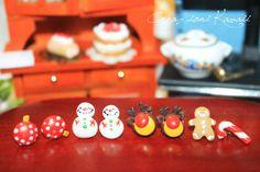 Christmas Polymer Clay Stud Earrings Xmas / di CreazioniKawaiiShop