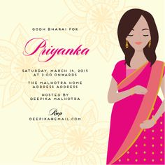 Superb Abundance Of Joy | Custom Godh Bharai Invitations