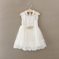 Vintage White Lace Dress w/rhinestone Belt