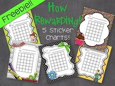 Freebie!!  An assortment of 5 adorable sticker charts for your kiddos at school and home!  Just print and reward!