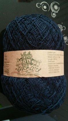 1 skein ethno cotton 70% cotton 30% linen yarn 200gr 1200m black #vivchari