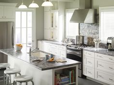 I love this Corian Bedford marble for the Martha Stewart kitchen collections.