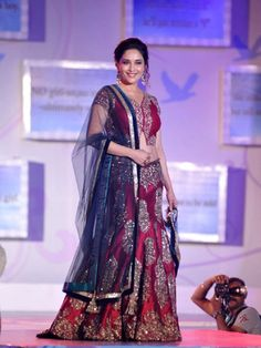 Madhuri Dixit Nene: Madhuri Dixit Nene walked the ramp in a Manish Malhotra outfit for the Save & Empower the Girl Child Campaign Fashion Show. Don't Miss: Celeb Spotting: At the Times Food & Nightlife Awards 2014 Indian Dresses, Indian Outfits, Manish Malhotra Designs, Fashion Week, Fashion Show, Indian Lehenga, Lengha Choli, Sarees, Girl Empowerment