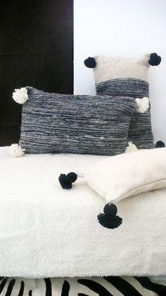 Moroccan POM POM Wool Pillow Cover  Black Bands por lacasadecoto