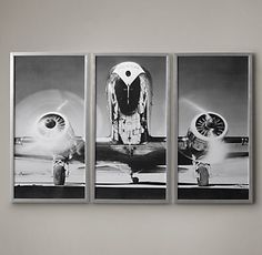 RH's Airplane Triptych:A vintage aircraft spreads its wings across three photographic panels, capturing the drama and exhilaration of the aviation age. The black-and-white image is set in aluminum frames that echo the gleam of the fuselage.