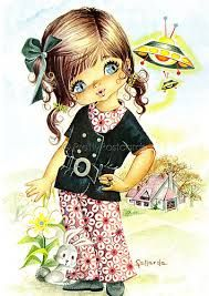 Image result for vintage big eyed girl postcard