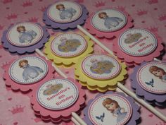 Princess Sofia the First Personalized Cupcake Toppers